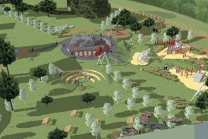 An artist's impression of the new adventure playground at Rufford Abbey.