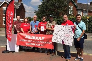 Members of Sherwood Constituency Labour Party out on the streets to help celebrate 70 years of the NHS. Photograph courtesy of Jerry Hague.