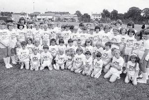 1981: This group of children look set for a day of fun at the Mansfield Carnival. Wonder what they are all up to now...