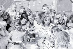 1981: Nothing like a royal wedding as an excuse for throwing a street party at Bretby Court, Mansfield. These kids are enjoying the buffet.
