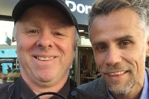 Richard Bacon and Jon Pertwee outside Crawshaws.