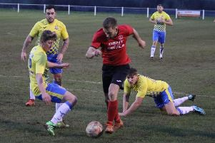 Action from the clash between Ollerton Town and FC Bolsover. (PHOTO BY: DC Photography, Retford)