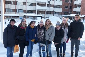 West Nottinghamshire College students brave the cold during their Finland trip