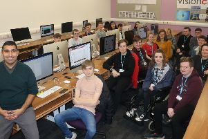 Gogglebox star Baasit Siddiqui with students at West Nottinghamshire College.