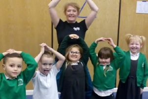 Rebecca Hart, from Dance Equation, with Oak Tree School pupils