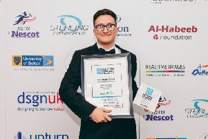 West Nottinghamshire College student Jack Wood with his British Education Award