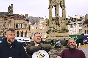 Top Gear hosts Freddie Flintoff, Paddy McGuinness and Chris Harris in Mansfield's Market Place.