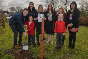 Forest Town Primary recieved a quality mark award from Nurture Group Network, pictured helping to plant a tree to mark the occasion is MP Ben Bradley with Nurture Group's Elisa Mascellani, assistant headteacher Laura Leedham, deputy headteacher, Nicola Lomas, Dinah Bishop and Jackie Whitaker