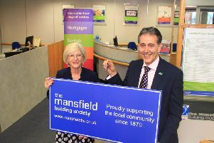 Mayor Kate Allsop with Gev Lynott, Chief Executive and Director. of the Mansfield Building Society