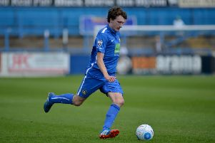 Jake Picton, pictured here during his Gainsborough Trinity days, scored the only goal of the game for Pontefract in the 1-0 win over AFC Mansfield