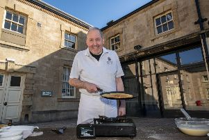 Vegan pancake cooking demonstration with David Carter of Welbeck School of Artisan Food