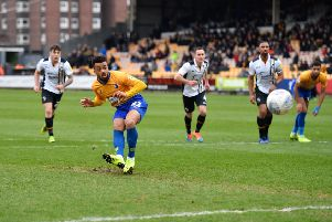 Mansfield Town's Nicky Ajose looks on as Ports Vale goalkeeper Scott Brown saves his penalty: Picture by Steve Flynn/AHPIX.com, Football: EFL League 2 match Port Vale -V- Mansfield Town at Vale Park, Burslem, Staffordshire, England on 09/03/2019: copyright picture Howard Roe 07973 739229
