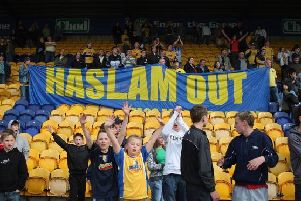 MANSFIELD, UNITED KINGDOM - APRIL 26: Mansfield Town fans demonstrate their disapproval of owner Keith Haslam after the Coca Cola Division 2 match between Mansfield Town and Rotherham United at Field Mill Ground on April 26, 2008 in Mansfield, England  (Photo by Gary M. Prior/Getty Images)
