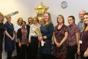 Dr Susan Huggard, centre, with her colleagues at Rainworth Health centre.