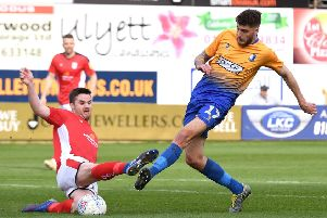 Picture Andrew Roe/AHPIX LTD, Football, EFL Sky Bet League Two, Mansfield Town v Crewe Alexandra, One Call Stadium, 23/03/2019, K.O 3pm''Mansfield's Ryan Sweeney has his shot blocked by Crewe's Eddie Nolan''Andrew Roe>>>>>>>07826527594
