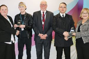 Judges and winners from West Nottinghamshire College's Student FIRST competition, from left: Jane Hawksford (governor), Same Fearn, Sean Lyons (chairman of governors), Michel Jasozewski, Rebecca Joyce (governor).