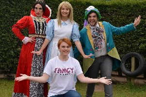Annabel Ward with Stacey Lynn Crowe as The Queen, Briony Gunn as Alice and Matthew Vaughan as the Mad Hatter.