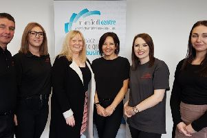 Adina Worboys (centre right) with members of her team and Sally Wharton, manager of the Mansfield i-Centre (centre left).