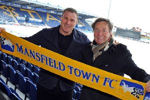 Mansfield Town owner, John Radford, with David Flitcroft at the One Call Stadium press call last year.