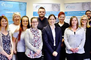 Mansfield MP Ben Bradley with Vicky Atkins MP, domestic abuse minister, and  staff at NIDAS
