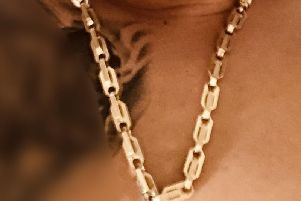 The man had this gold chain stolen from him.