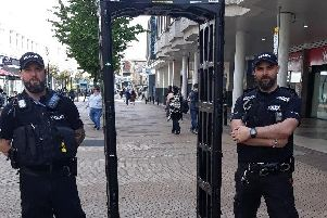 Police in Mansfield yesterday.
