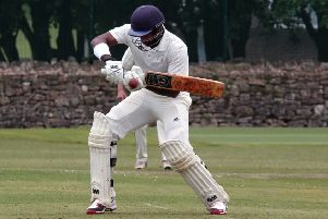Anuk Fernando opens the face for a stylish shot on his way to 167no for Mansfield Hosiery Mills.