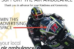 The advertising will go on the front of his bike.