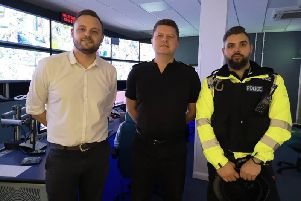 Mansfield MP Ben Bradley pictured with Mansfield police inspector Nick Butler.