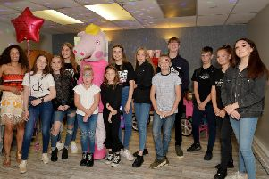 Charity funday in aid of Clic Sargent at Blidworth Miners Welfare Social Club, organised by friends Kaci-Jane Pointon-Gullett, 15 and Izzy Lawton, 15, the girls are pictured with friends at the event.