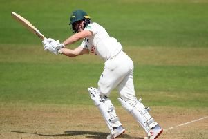 Jake Libby on his way to 77 for Notts at Somerset.