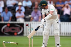 Notts' Jake Ball sees his wicket tumble thanks to Jamie Overton's delivery at Somerset.