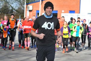 Ben Smith and fellow runners during his challenge of running 401 marathons in 401 days.