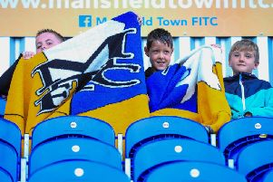 Mansfield Town fans at today's friendly with Glasgow Rangers U23's.