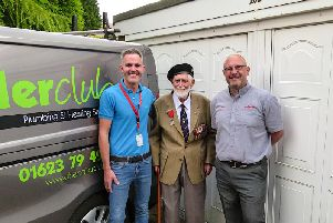 Left to right: Andrew Dumelow, owner of The Boiler Club Ltd; Donald Sutton, aged 101 years;  Alex Scott, Viessmann Area Business Manager.