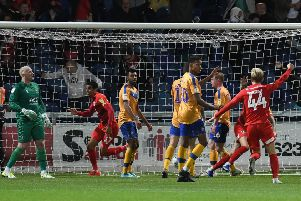 Picture: Andrew Roe/AHPIX LTD, Football, Sky Bet League Two, Mansfield Town v Leyton Orient, One Call Stadium, Mansfield UK, 20/08/19, K.O 7.45pm''Leyton Orient's players elebrate their last minute winner''Howard Roe>>>>07973739229