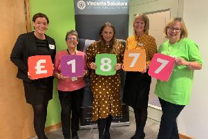 Claire Hamilton, Head of Vincents Solicitors Chorley office with Eileen Murray and Abi Williamson from Derian House, Garstangs YBS cashier Virginia Webster, and Elaine Middleton from Derian House.