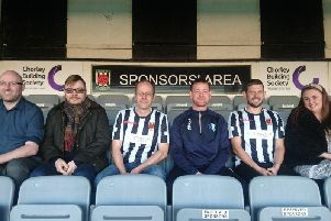 Members of Blokes United with Darren Jenkinson, Chorley FC Community Foundation, Ben Stout, of Stand Out Stories and Kristin Cott, of Magma Digital