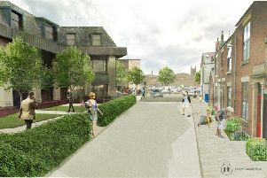 An artist's impression of the new town centre plans. The view along Stanley Place, which will see changes to improve the walking route between the town centre and an extended Hollinshead Street car park