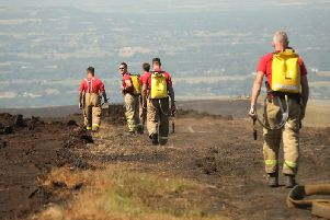 Firefighters at the scene at Winter Hill