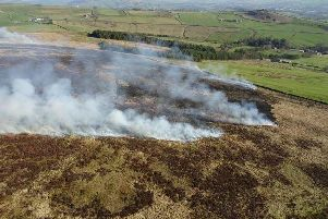 Firefighters are tackling this moorland blaze at Blacko, East Lancashire.