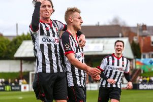 Marcus Carver celebrates scoring for Chorley with Josh Wilson