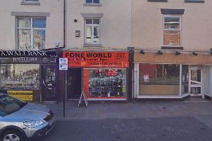 The Fone World shop in Market Street, Chorley was raided on February 18.