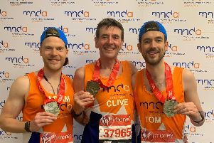 Former Chorley GP Clive Barker and sons Tom and Adam ran the London Marathon or the Motor Neurone Disease Association in memory of Clives mum who died from Motor Nuerone Disease in 2003