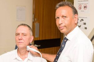 Chris Curtis with Mr Ajay Nigam, Head and Neck Surgeon at Blackpool Victoria Hospital