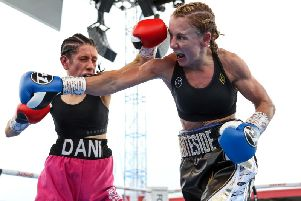 Lisa Whiteside catches Dani Hodges with a right hand