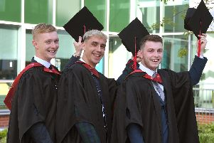 UCLan Degree Ceremony'Ben Stanton, Callum Williams, and Robert Walkden, of Euxton