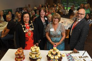The Mayor of Chorley and her Consort, Coun Hasina Khan and Zafar Khan with Marjorie Hayward and Susan Forshaw of Friends for You, celebrating its 3rd birthday