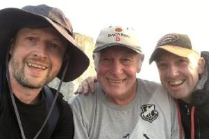 Ben Wadeson and his brother, Danny,  with their dad Ken, who scaled the three peaks for Derian House
