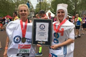 Fiona May Beaty and Katie Simpson ran the London Marathon dressed as a tooth and toothpaste